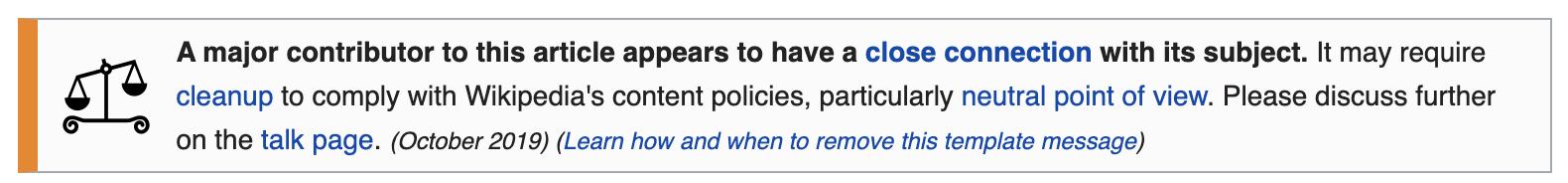 Wikipedia warning message