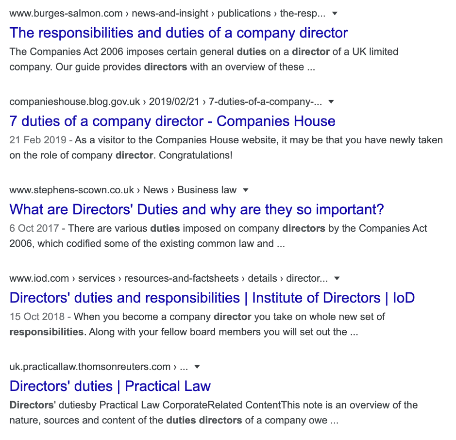 Search for law firms and directors duties